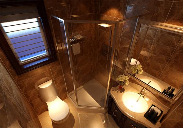 暖色调的瓷砖,加上灯光效果的配搭下,显得额外奢华大气。 亮点:地砖与墙身的流沙式仿古砖让整个卫浴空间的感官上尤为舒适柔和,丝丝的浪漫情怀,点点的恬静优雅,置身其中,尽享欧式复古格调带来的愉快体验。