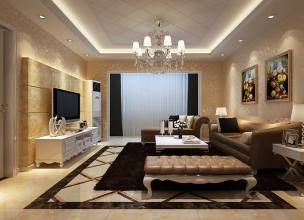 厅采用简欧风格典型的白加米黄色彩搭配方式辅以银色的典雅与黑色的深沉,比例协调,沉稳同时浮显简约张力。在立体视觉上,顶面的菱形造型吊顶与地面的瓷砖拼花遥相呼应,从而使整个空间环环相扣,大器天成。