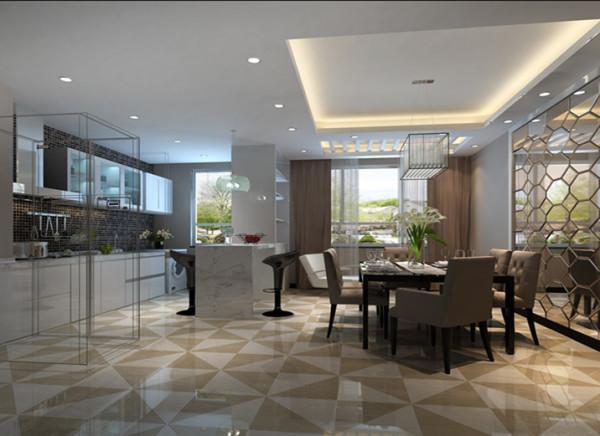 厨房和餐厅连在一起的。并且在厨房和餐厅之间做了一个石英石台面的吧台设计,显得非常有个性。顶面的吊顶设计,也使两个空间功能区分的很明确。