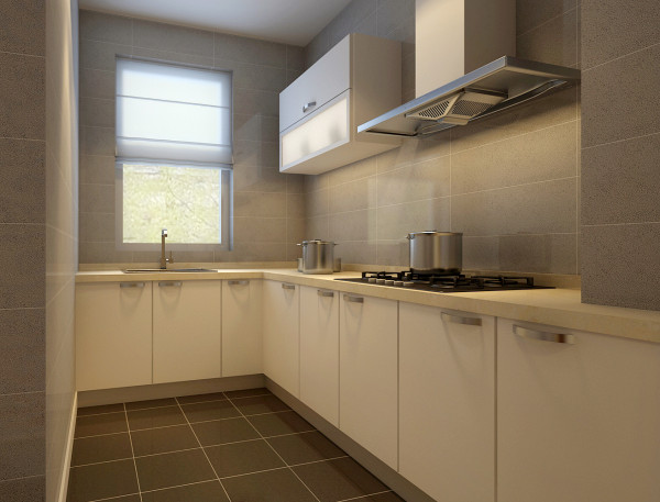 厨房正对入户门,进门亮点所在,灰色墙砖搭配纯白色橱柜,不再是功能区,更是展示,又是表达心情,体现细致生活的地方。