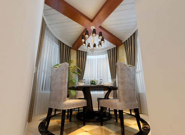 餐厅顶部原结构为混凝土承重梁,在基础上做了一个木梁效果,显得比较自然,周边做了窗帘盒效果,窗帘安装后是看不到轨道的,用金线米黄石材干挂,灯光打在上面,给人视觉感觉奢华感觉十足。