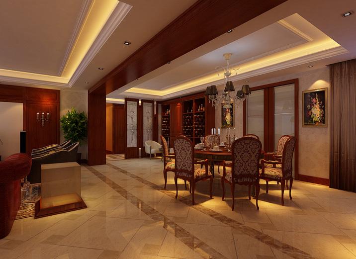 餐厅图片来自天津实创装修_装饰在26.7w打造215平王府壹号古典韵味的分享