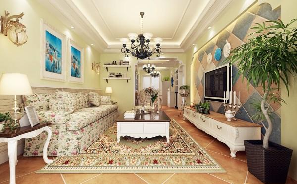 客餐厅整体装修并没有过多复杂的造型,暖色的小碎花家具点缀其中,为业主打造温馨其乐融融的生活氛围。