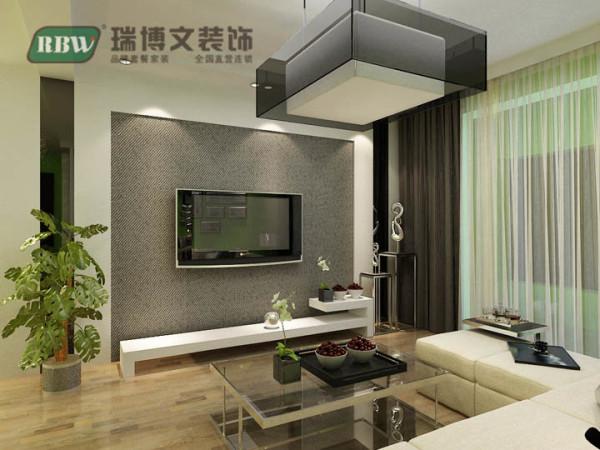 电视背景墙用石膏板、壁纸和镜面结合,立体感增强,客餐厅搭配水晶灯整体凸显时尚、档次。电视墙设置在这面墙上凸显这个客厅的亮点。