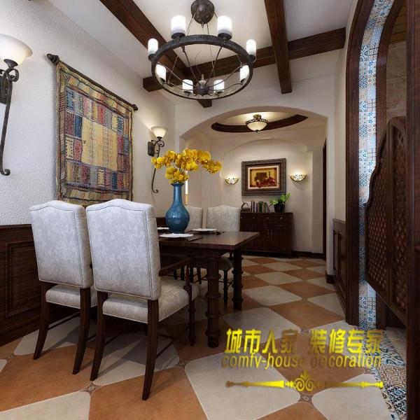 餐厅吊顶上增加的原木给餐厅赋予了别样的美式乡村风情,餐桌上黄色的鲜花给餐厅增加了亮色,让人眼前一亮。石家庄城市人家装饰