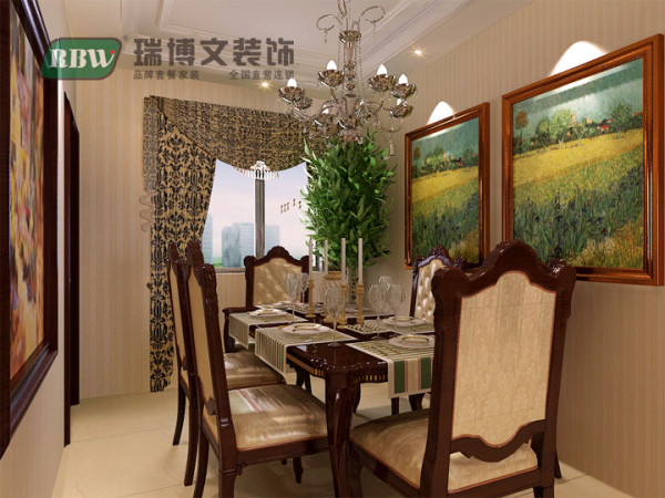 本案中的轻古典,摒弃了传统欧式的繁复、,餐厅在空间设计、材料、色彩运用、家具装饰品陈设上,对传统欧式的简化,使之融入空间,简约时尚。
