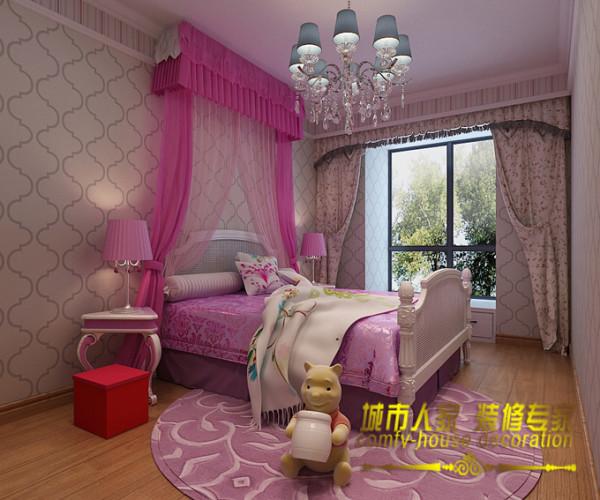 古典欧式风格的大床让人想起了童话故事里的公主床,给了女孩一个完整的公主梦。石家庄城市人家装饰