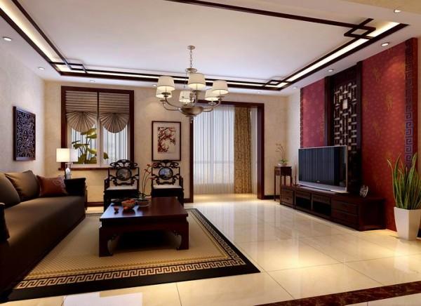 中式的吊顶和电视背景的简式花格和布艺沙发的结合,突破了原始中规中矩的老中式风格。