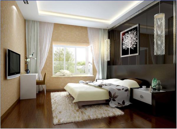 在次卧室里用的是黑色的床头背景墙,配上吊顶的反光灯带,褐红色花纹壁纸显得空间清新自在