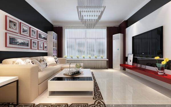 客厅黑白搭配的背景布满整个电视背景墙,以黑色的外框包含白色的里衬,简单而又大方