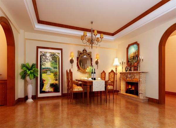 顶面木线装饰与装饰画框这些线条与垭口有机的和谐,壁炉做为装饰在空间中突出了欧式元素