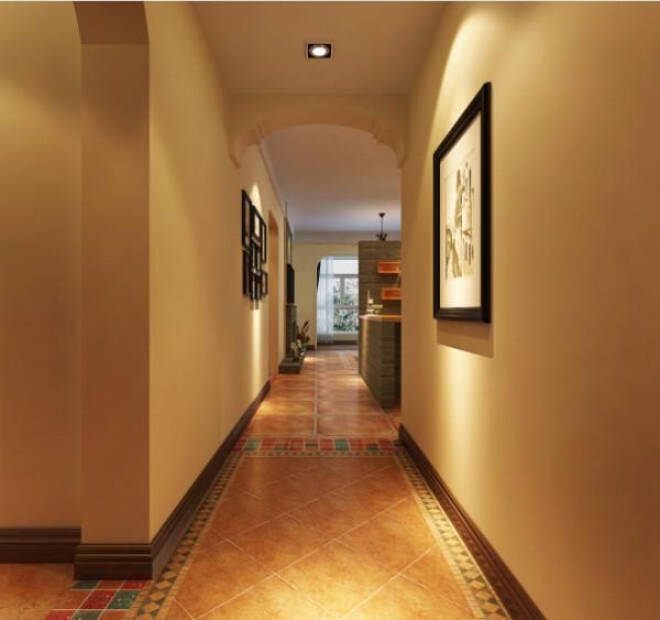 客餐厅整体铺贴的是米黄色仿古砖,走道一副简单的艺术画册,简答大方。进入餐厅的位置坐了一个弧形的造型,避免了客厅因为没有吊顶而显得单调。