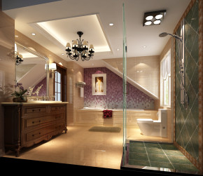 简约 美式 高度国际 时尚 白富美 跃层 白领 别墅 80后 卫生间图片来自北京高度国际装饰设计在中景江山赋美式跃层的分享