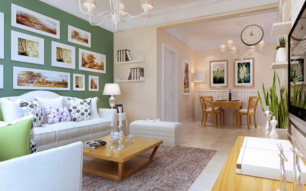 客餐厅整体设计,白色和木色,天然接地气。做上一两个造型架,放上珍藏品和书籍。让你的家泛点书香气。