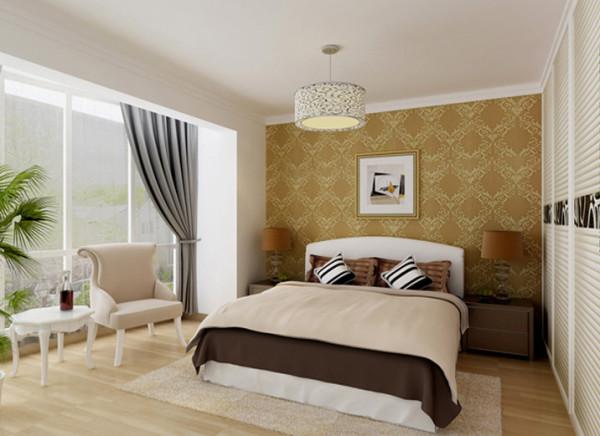 床头背景墙采用大花纹的欧式壁纸,配上灯光效果,和床头软包,让业主一进卧室就像立刻有躺到上床的冲动