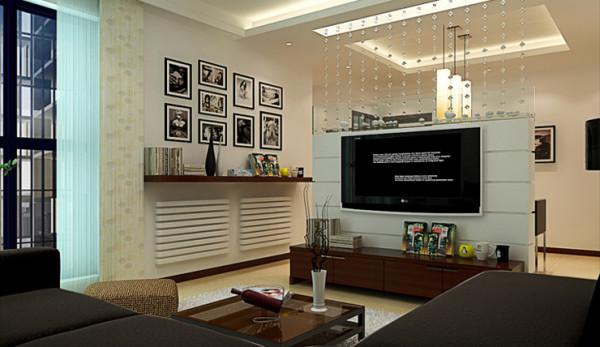 方圆经纬85平方 客厅装修效果图,采用软隔断做电视背景墙。