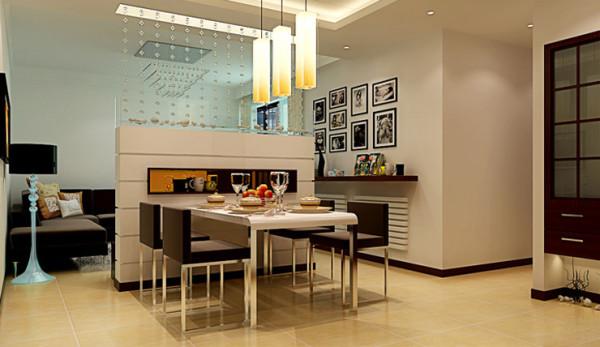 方圆经纬85平方 餐厅装修效果图,一墙之隔,又不压抑,美观。