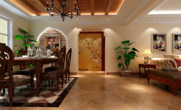 餐厅区域在设计上用带古典感觉的餐桌,体现出主人稳重与大气。地面的拼花很好的划分了餐厅的区域,使人可以一目了然。餐厅背景墙与吊顶体现了乡村的自然。