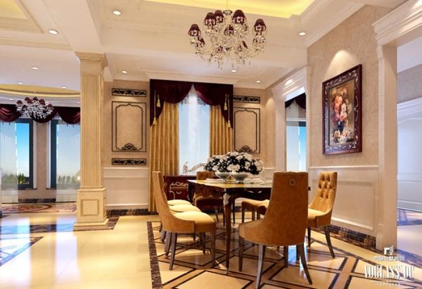 餐厅的设计延续了客厅的优雅与生活气息,一副维多利亚风格的画品增加了房间里的优雅,缓解了厚重的家具材料带来的厚重,将法式风格的奢华冲淡,留有一份浓重的时代与文化的碰撞。