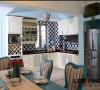 厨房细节,清新的黑白色调给地中海的蓝相得益彰,完美的无懈可击!