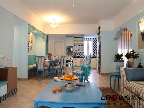 客厅细节,清新唯美的色调搭配得非常完美,地中海的生活在这里感觉唯美极了。