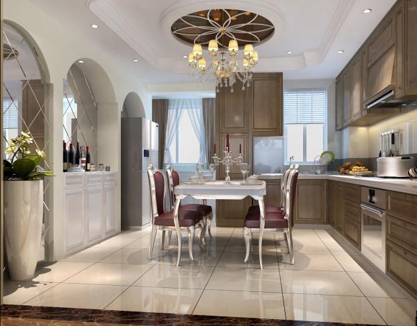 亮点:餐桌上方的吊灯精致华丽,顶部造型却别出心裁的做成了茶色玻璃样式,花瓣形的石膏线造型倍显灵动。餐桌后的拱形玻璃背景墙凸显空间,让整个餐厅显得更有情调。