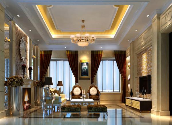 【成都实创装饰】领馆国际城—古典欧式风格—三居 装修参考—整体家装—客厅装修效果图肌理的电视背景墙,古典色彩的窗帘和明亮素实的地毯相呼应的吊灯,加上造型简洁大方的沙发送给心灵一次欧洲的游历。