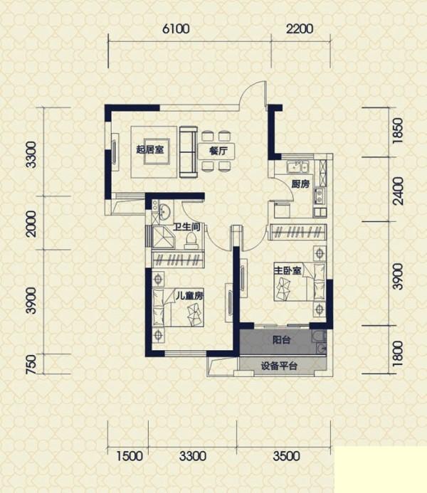 保利拉菲公馆-欧式风格-两居室装修-户型图