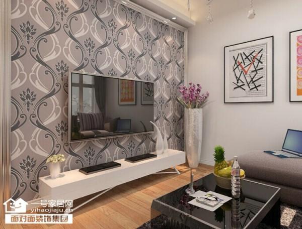 客厅电视背景简单贴墙纸,镜框线条收边,简单大方。