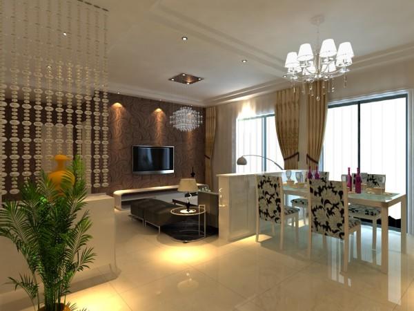高速奥兰花园两居室简单优雅婚房设计装修设计客厅设计效果图
