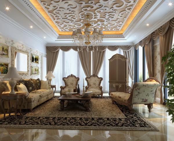 客厅是接待宾客的地方,也是进门就看见的地方,吊顶采用镂空的设计,采光条件非常好
