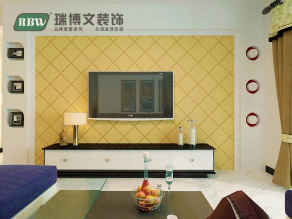 客厅电视背景墙,内部做成菱形的石膏板拉缝,刷上黄漆,两边做上简单的造型,简单时尚,体现出整个客厅空间的主题。