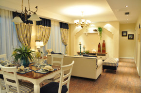 简约 地中海 清新 小三居 文艺 收纳 温馨 舒适 80后 餐厅图片来自成都生活家装饰在88㎡神仙树--温馨地中海的分享