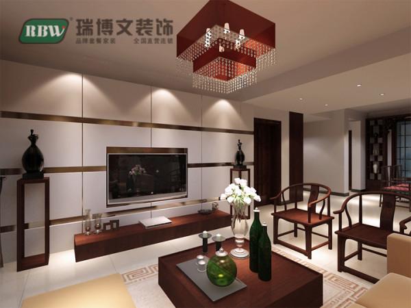 电视墙,简单而不失大气中间配以壁挂电视,与电视墙造型融为一体,再加上简单的中式电视柜,和一旁的工艺摆件,还有中式的圈椅,中式的地毯,塑造了一幅简单简约的中式画境。