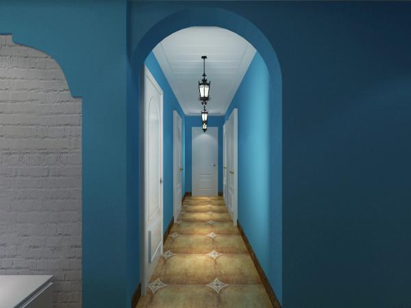 卧室走廊拱形门,经典石膏板拉缝,安装地中海吊灯。
