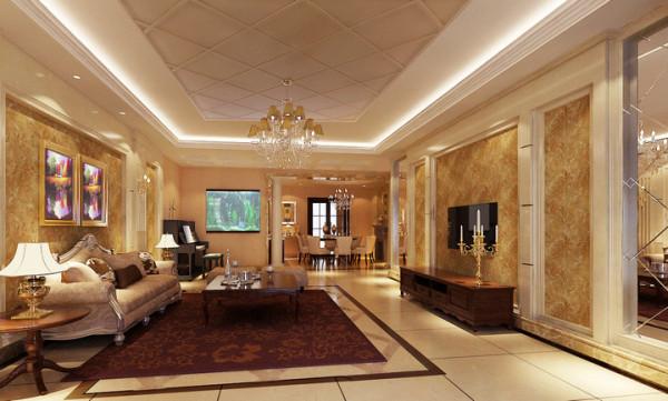 水榭山-欧式风格-客厅效果图