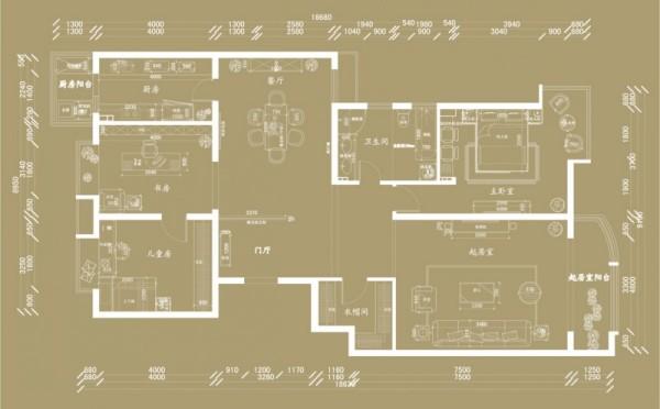 后奢华风格-三室二厅一户型图
