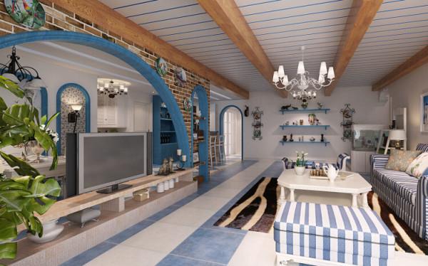 客厅空间较大,在设计时要重点考虑空间的格局,客厅上方的实木饰面装饰梁与石膏  板错缝的设计把客厅与餐厅的空间格局立刻区分出来,8米长的横向装饰梁还加深了客  厅长度,大气自然