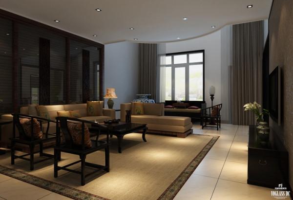地下一层客厅空间室内设计以新中式风格为基础,通过原木色地毯和太师椅增加空间的普主干,垂感十足的窗帘和窗纱,以单一色调增加了空间的质感,传统的手工工艺与传统式蝴蝶兰等细节打造出具有文化内涵的品质空间