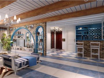 浪漫地中海利用蓝白仿古砖的设计