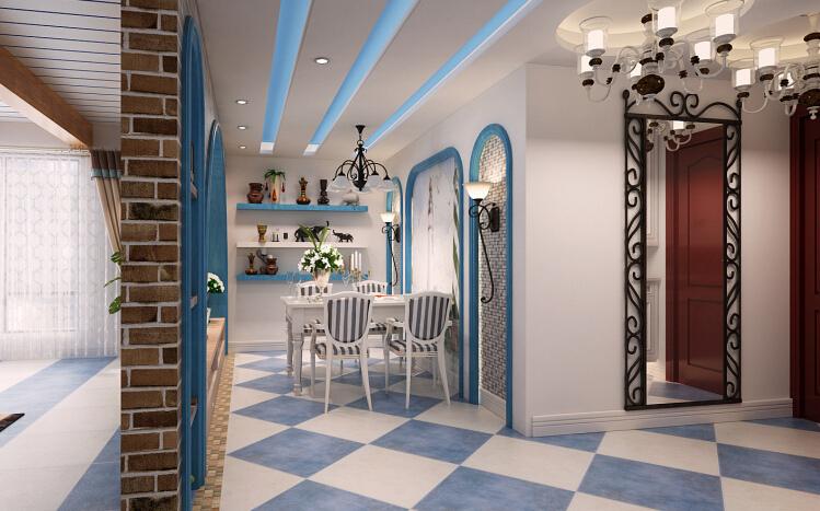 现代 二居 三居 别墅 白领 收纳 旧房改造 80后 小资 餐厅图片来自周楠在浪漫地中海利用蓝白仿古砖的设计的分享