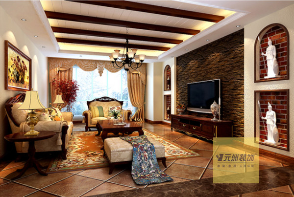 客厅:美式的木梁、深色的文化石背景墙、厚重、大气的实木家具结合到一起,造就了一个沉稳、大气、舒适的客厅。