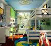 儿童房运用大面积蓝绿色调展现儿童的天真烂漫和活泼的天性