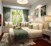 主卧采用清新田园元素贴合业主年龄及身份 沙发床从而兼具客房功能,整体色调简单统一。