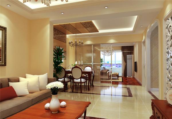 餐厅部分那拥有浪漫花纹茶色镜子与白色雕花隔断朝相呼应,深咖啡色印花的背景墙,显得高贵典雅。藕荷色的沙发典雅大方,仿佛诉说着一段陈年往事,