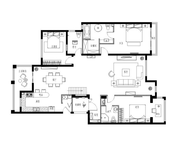 设计将客厅天花与二层连通,改变后的客厅空间呈上升之势,置身其中给人积极向上之感,表现业主对快乐人生的追求;这里没有多余的色彩、布置和家具,没有喧嚣与繁冗,一派宁静悠远;
