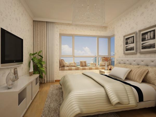 次卧 简洁大方 次卧的采光相对于主卧来说更好一些,所以在设计的时候将书桌安置在了次卧中,同时选用圆形的水晶吊顶,让整个空间更加明亮。用色彩体现了卧室的属性。