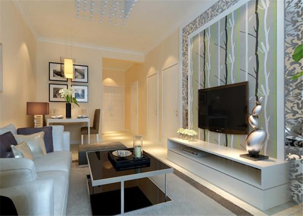 简约的大体方向穿插点后现代古典元素,整体客厅看起来大气而又温馨。 亮点:电视背景墙的暗花茶镜,水晶灯的点缀,两者很好的结合。
