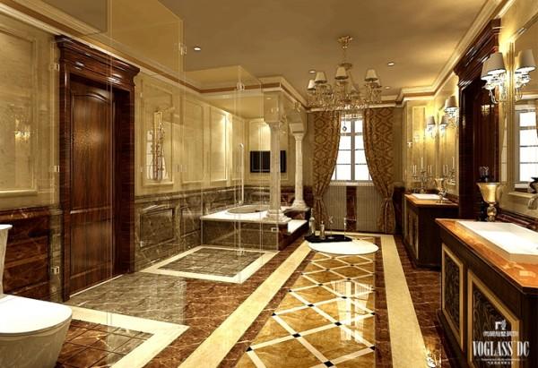 主卫生间选用橘黄色作为色彩基调,在浴室柜和其他饰品的选择上也充分体现出欧式风情,大理石拼花地面,大理石装饰线条,古典质朴味道浓厚的窗帘及吊灯,体现出贵气和稳重的气质,带来迷人的别墅装修感悟。