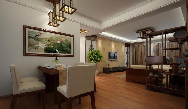 中式线条造型,清雅的荷花图、宫灯样式的灯具,绿色植物、布艺,复古式木制精美工艺品,使得空间更加沉稳富有内涵.